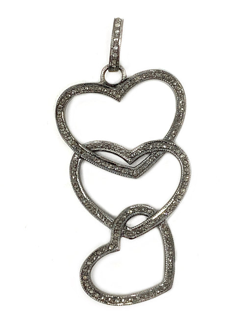 Triple Cascading Pave Diamond Heart Pendant