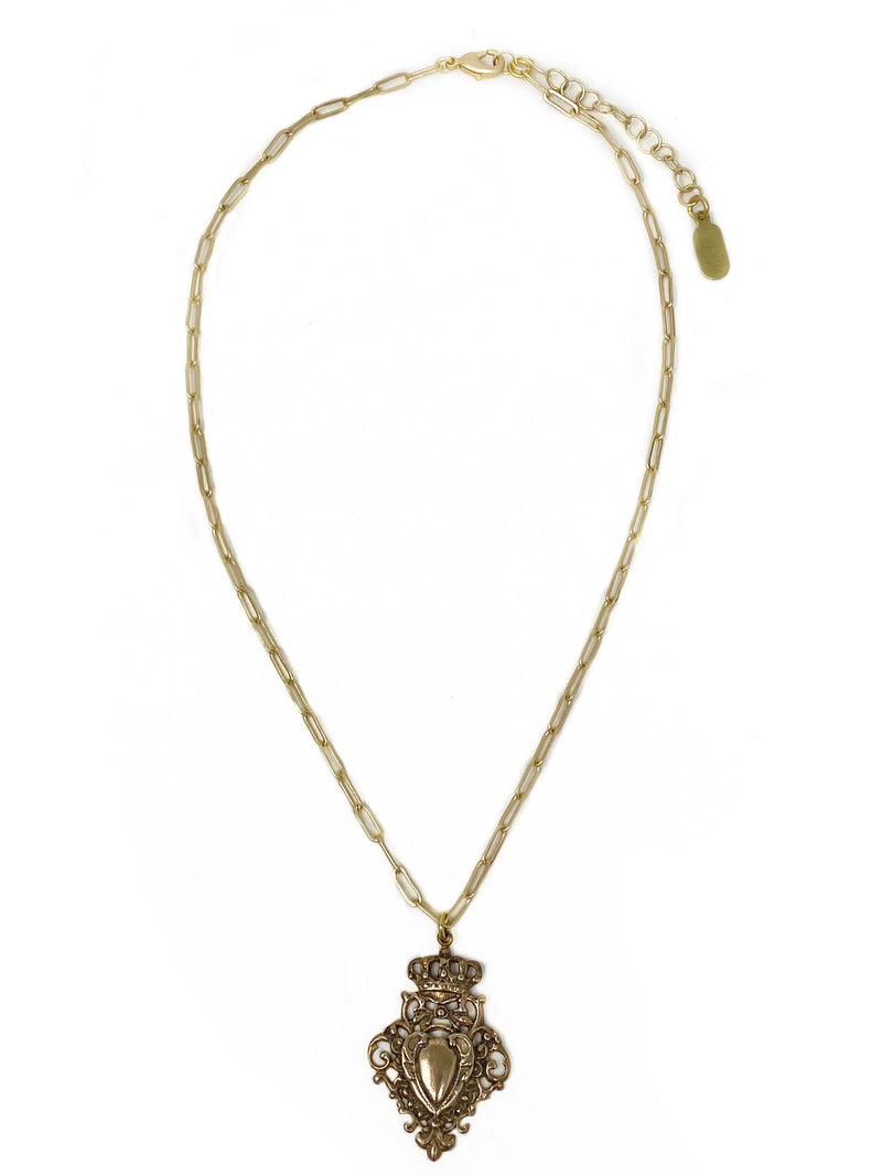 Bronze Crest on Modern Vermeil Chain