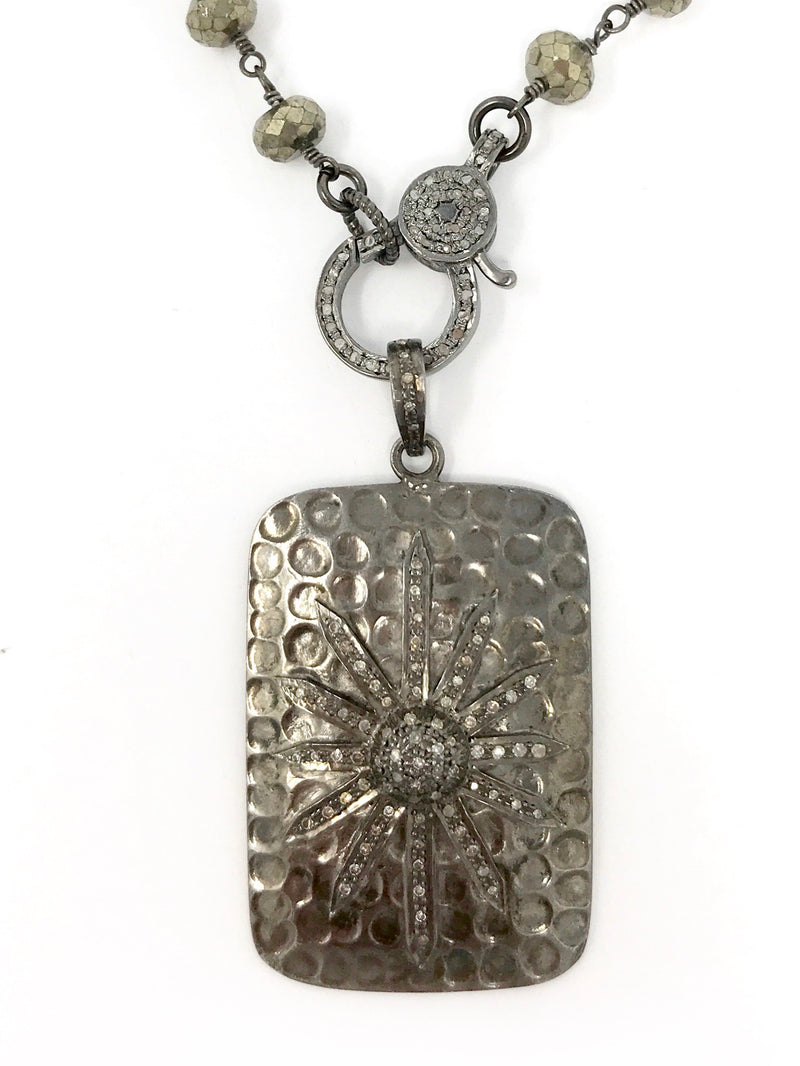 Pave Diamond Star and Oxidized Sterling Dog Tag Style Pendant
