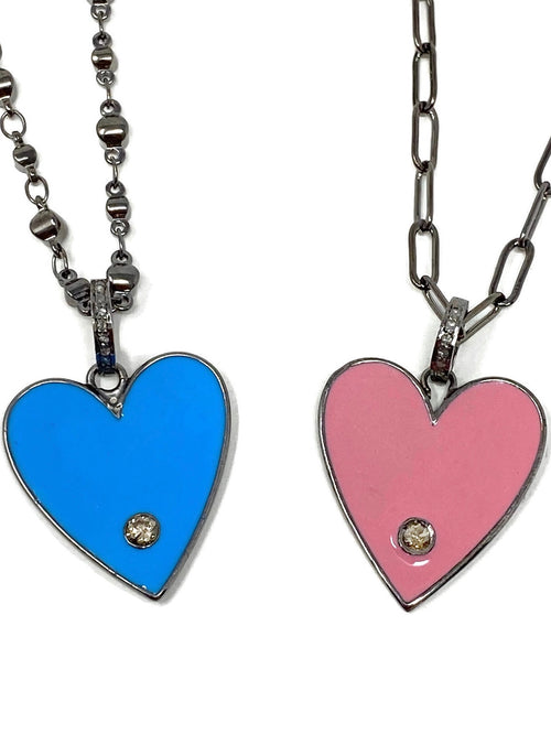 Enamel Heart Pendant with Diamond on Chain