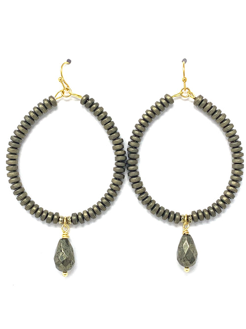 Hematite Rondelle Beads and Pyrite Drop Hoop Earrings
