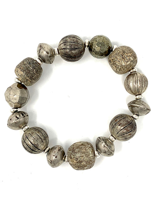 Wooly Mammoth and Mixed Silver Beaded Bracelet