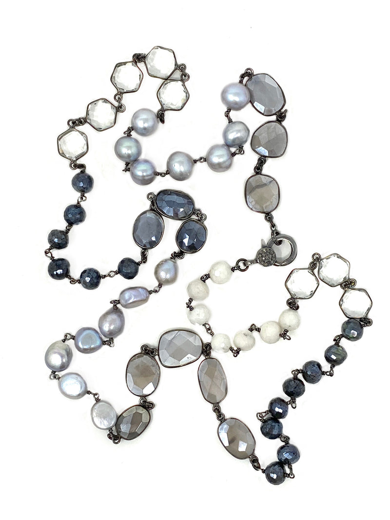 Quartz, Labradorite, Pearls and Moonstone Chain with Diamond Accent Clasp