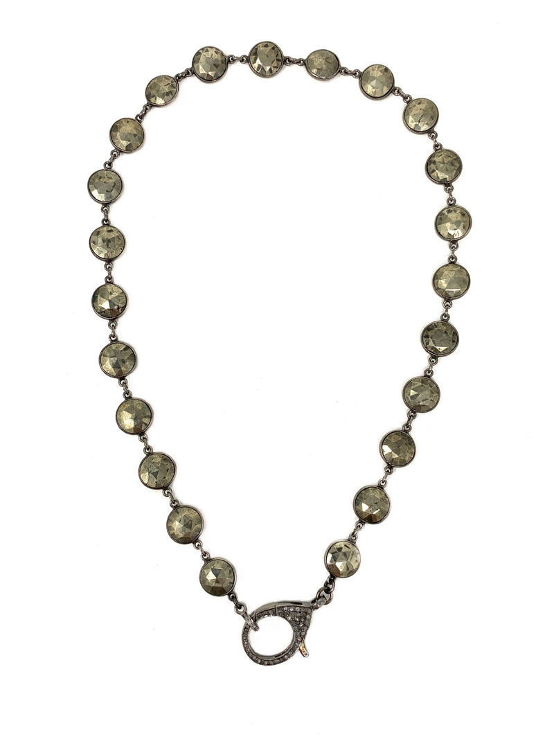 Bezel Set Pyrite Chain with Sterling Large Diamond Clasp