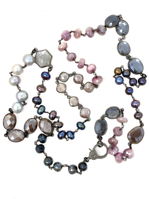 Shades of Pink and Gray Pearls and Gemstone Chain with Diamond Clasp
