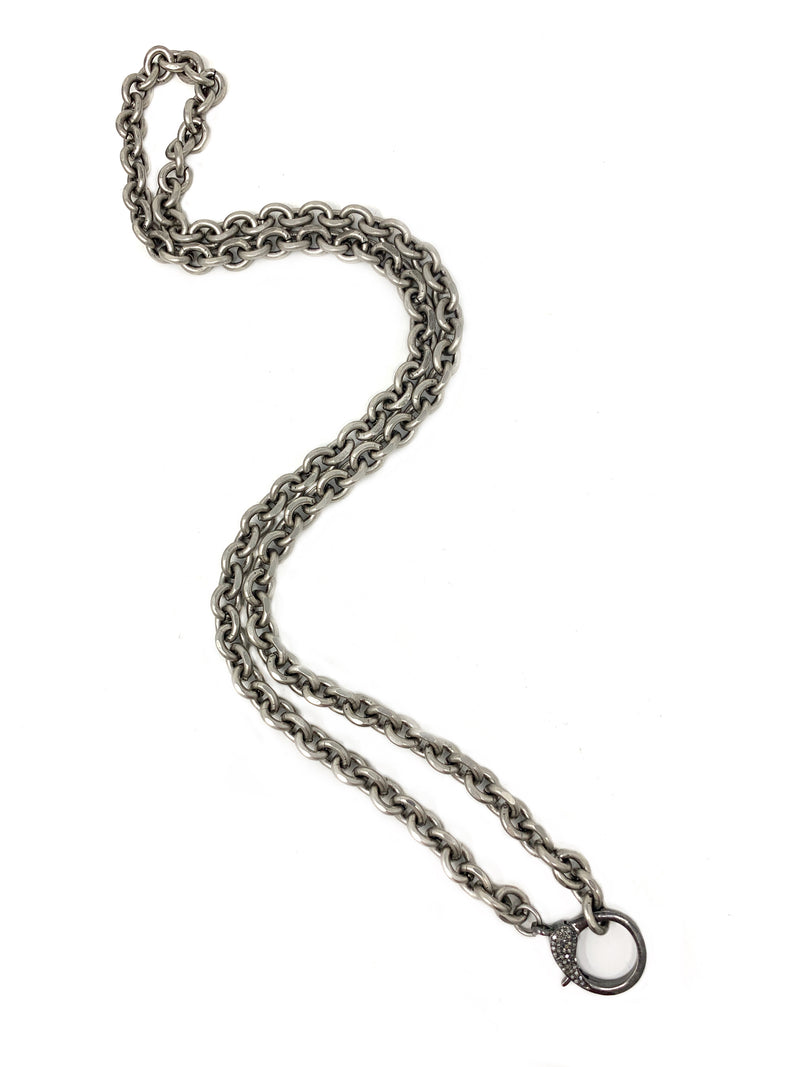 Chunky Antiqued Silver Chain with Pave Diamond Clasp