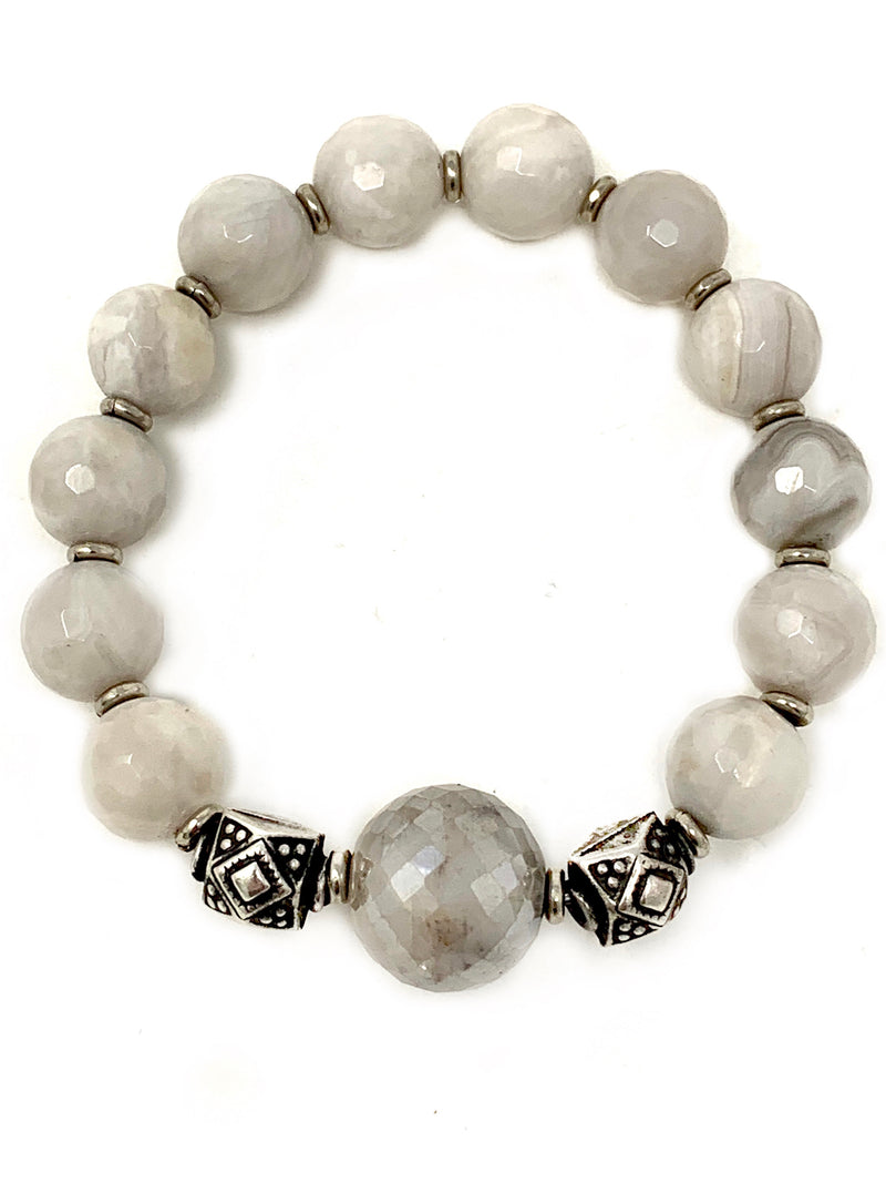 Gray/White Agate with Silver and Moonstone Beaded Center Bracelet