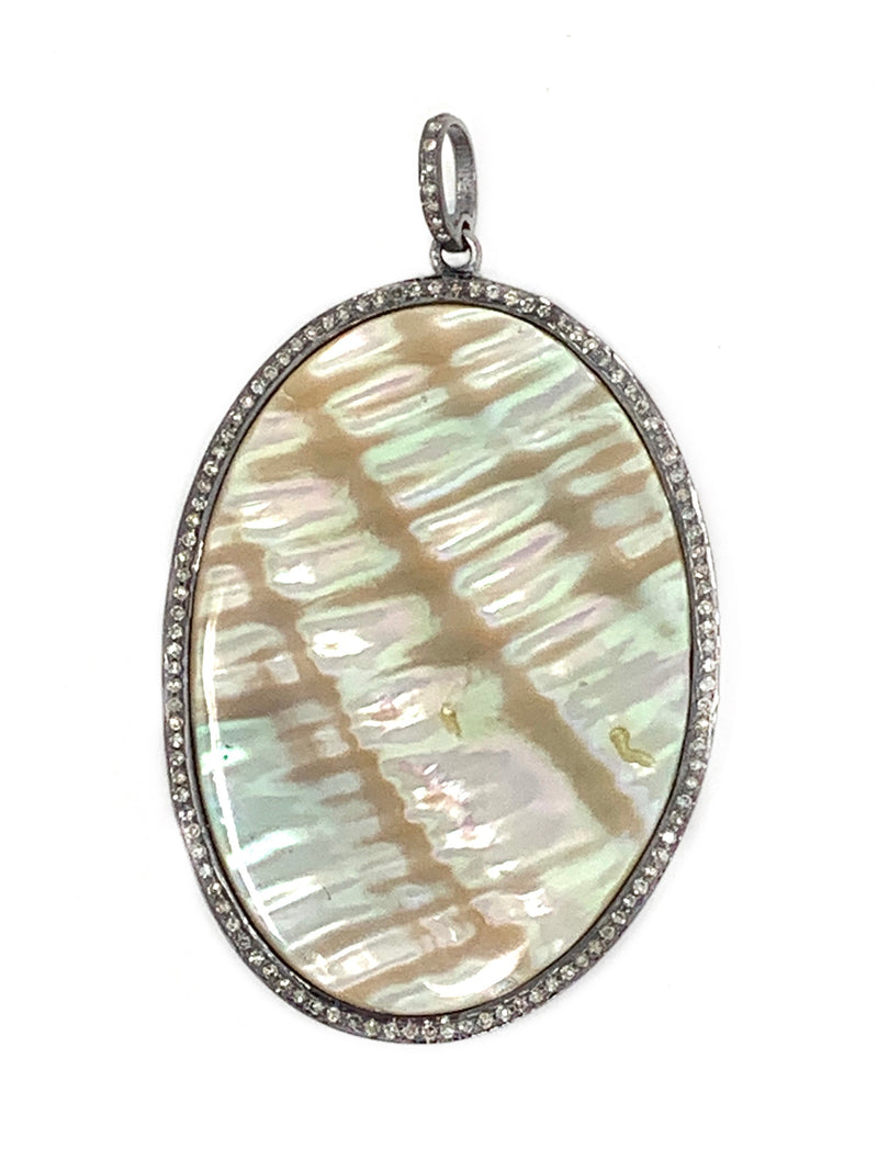 Mother of Pearl (peach and gold tone) and Pave Diamond Pendant