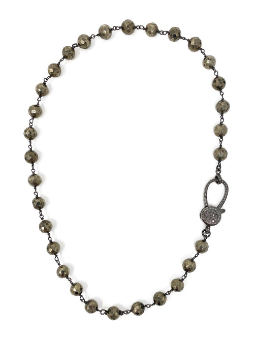 Pyrite Beaded Chain with Large Diamond Clasp