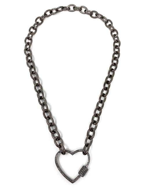Diamond Heart Carabiner Necklace