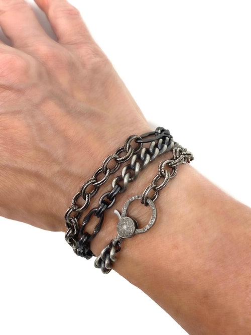 Mixed Dark Silver Chain with Pave Diamond Clasp