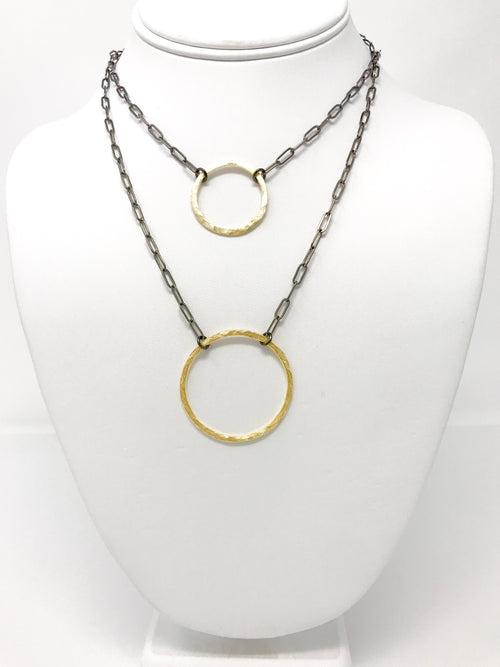 Two Tone Necklace with Hammered Ring