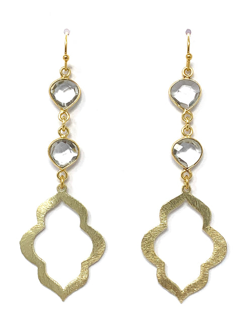 Quartz and Gold Small Scallop Drop Earrings