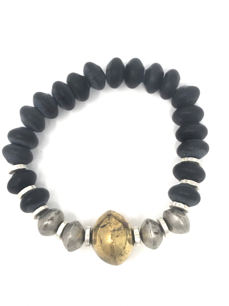 Matte Onyx Rondell Beads with African Brass and Silver