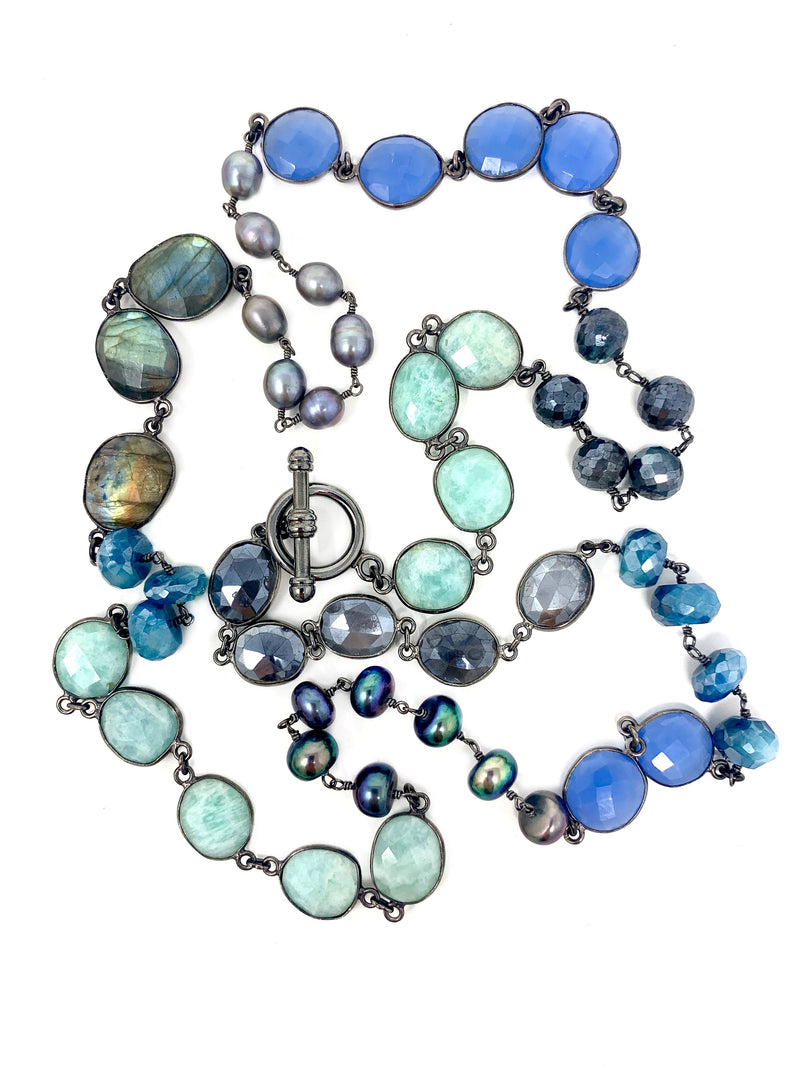Shades of Blue Gemstones and Freshwater Pearl Necklace