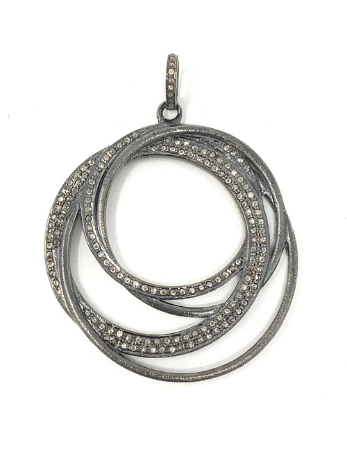 Concentric Diamond and Sterling Circle Pendant