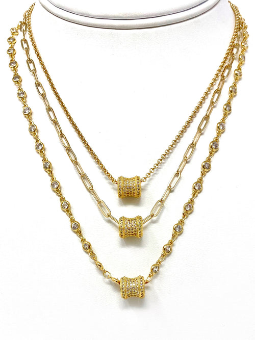 Pave Cubic Zirconia Barrel Bead on Assorted Chains