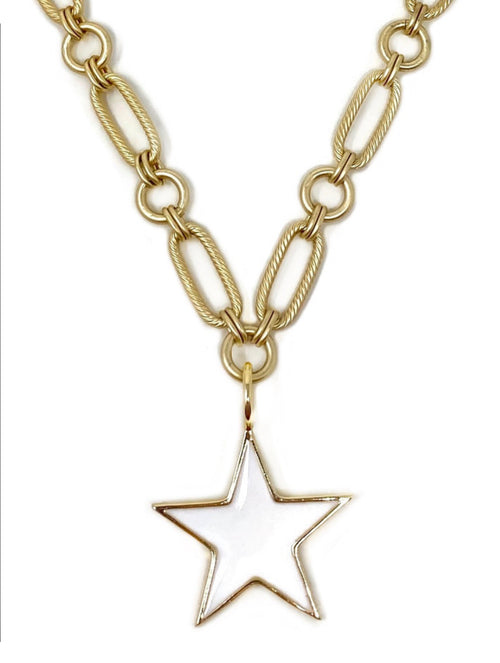 White Enamel Medium Star on Brushed Gold Modern Chain