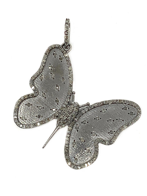 Sterling and Diamond Butterfly Pendant