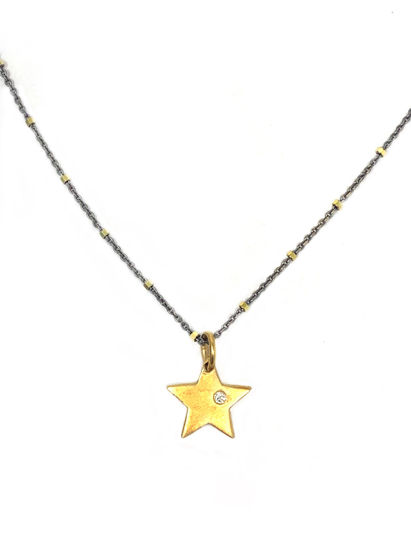 Gold Vermeil Star Charm with White Sapphire on Two Tone Sterling Chain