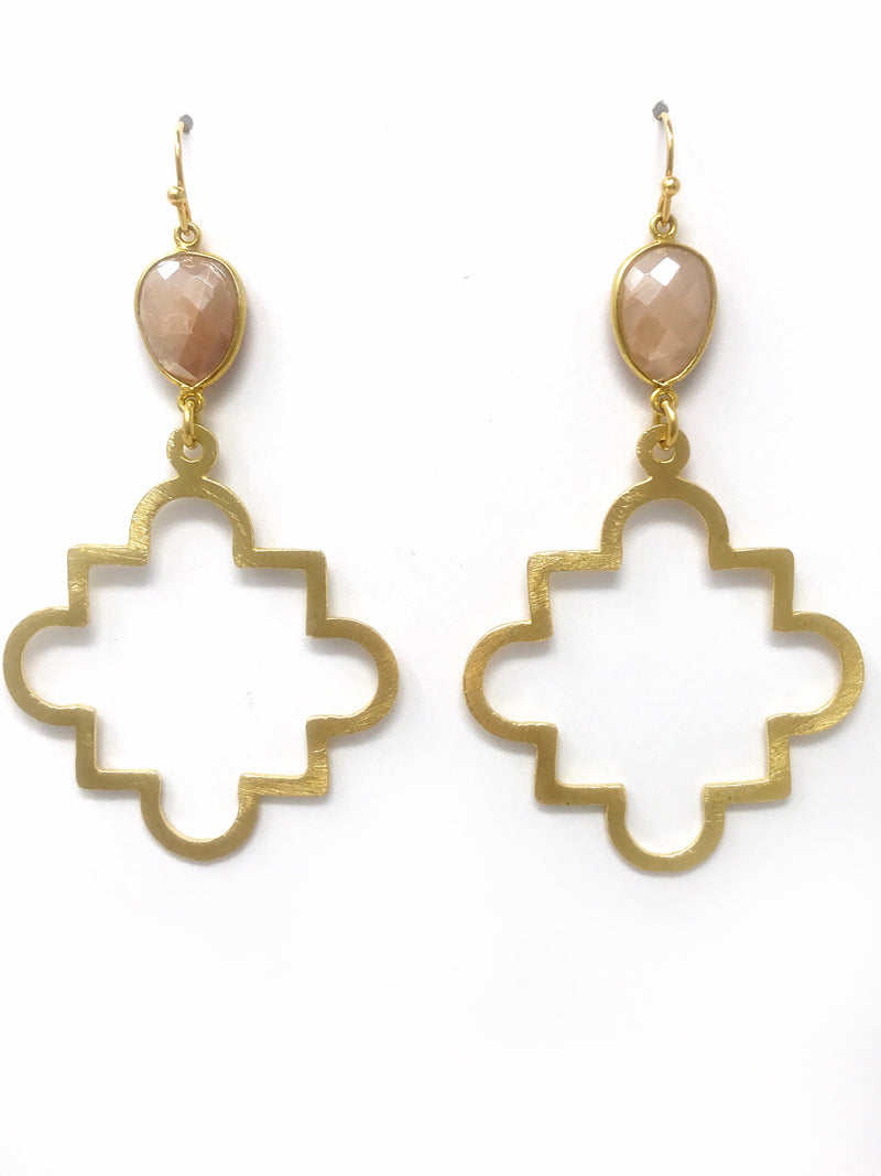 Pink Moonstone and Large Gold Quatrefoil Drop Earrings