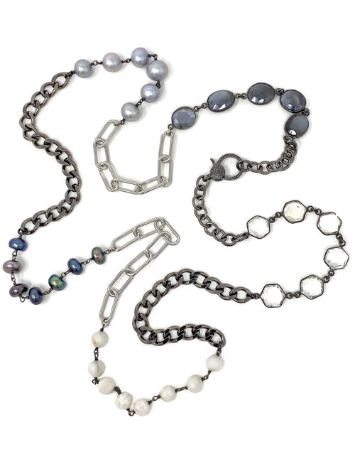 Mixed Dark and Light Silver, Pearls and Gemstone Chain with Diamond Clasp