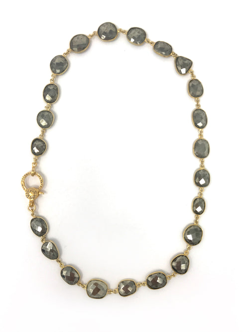 Pyrite Bezel Set Chain with Vermeil Pave Diamond Clasp