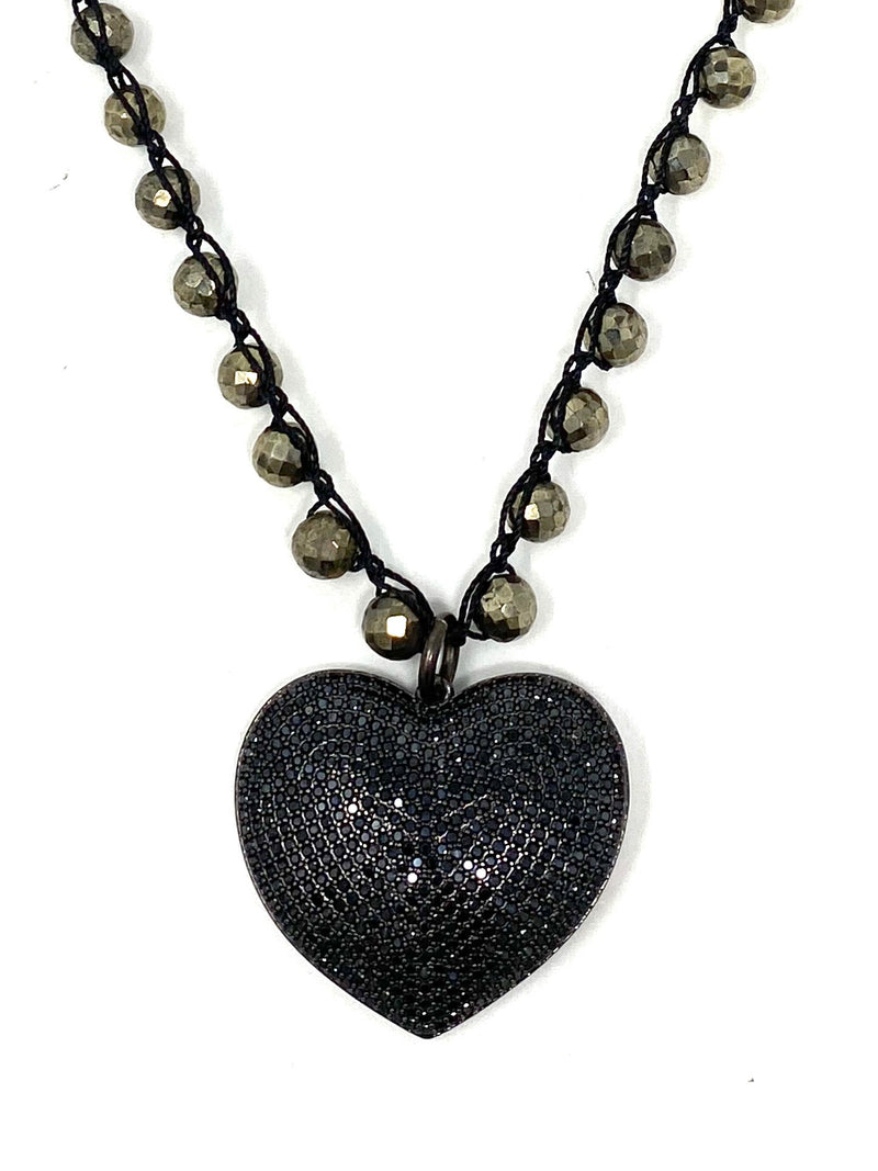 Pyrite Crocheted Chain with Black Pave Cubic Zirconia Heart Pendant