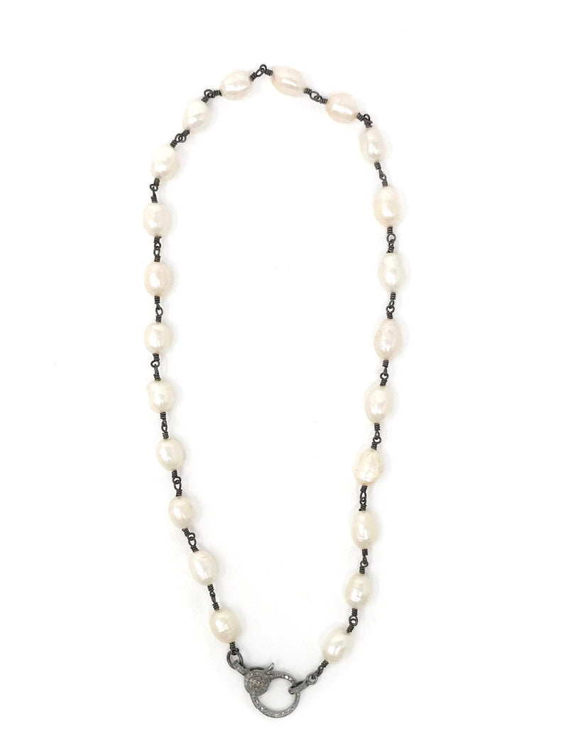 White Fresh Water Pearls Gunmetal Chain with Diamond Clasp 17""