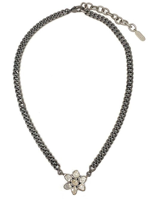 Polki Diamond Flower and Curb Chain Necklace