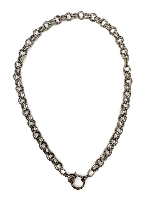 Double Link Textured Chain with Pave Diamond Clasp