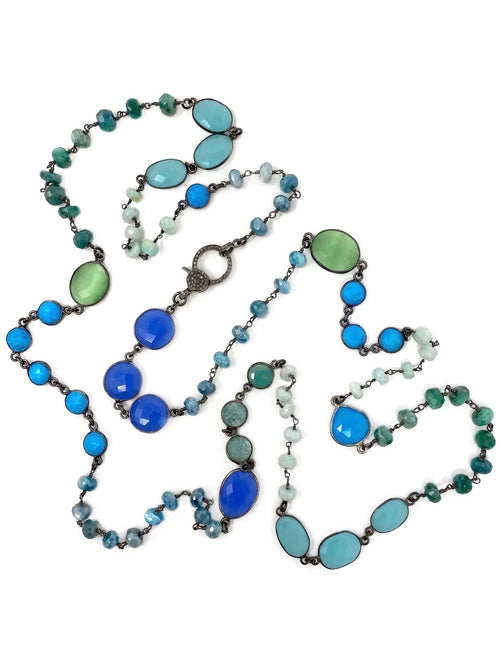 Cool Colored Gemstone Chain with Diamond Clasp