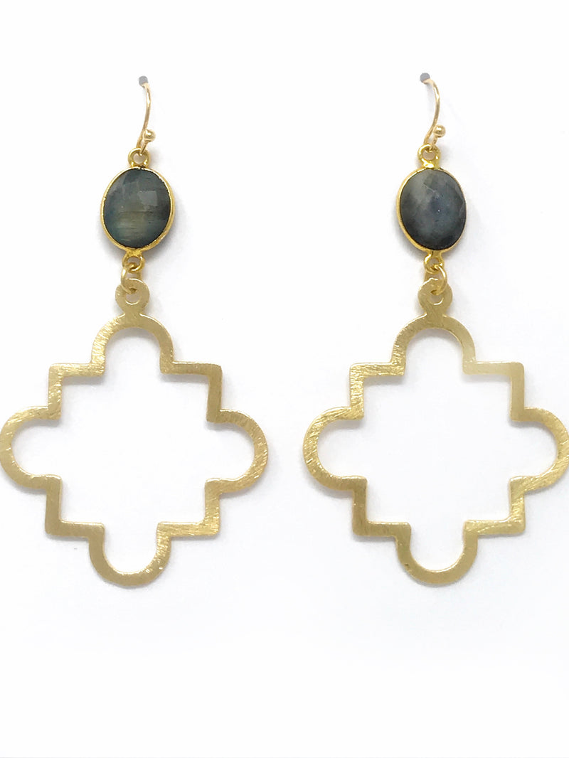 Labradorite Bezel Set with Large Gold Quatrefoil Drop Earrings