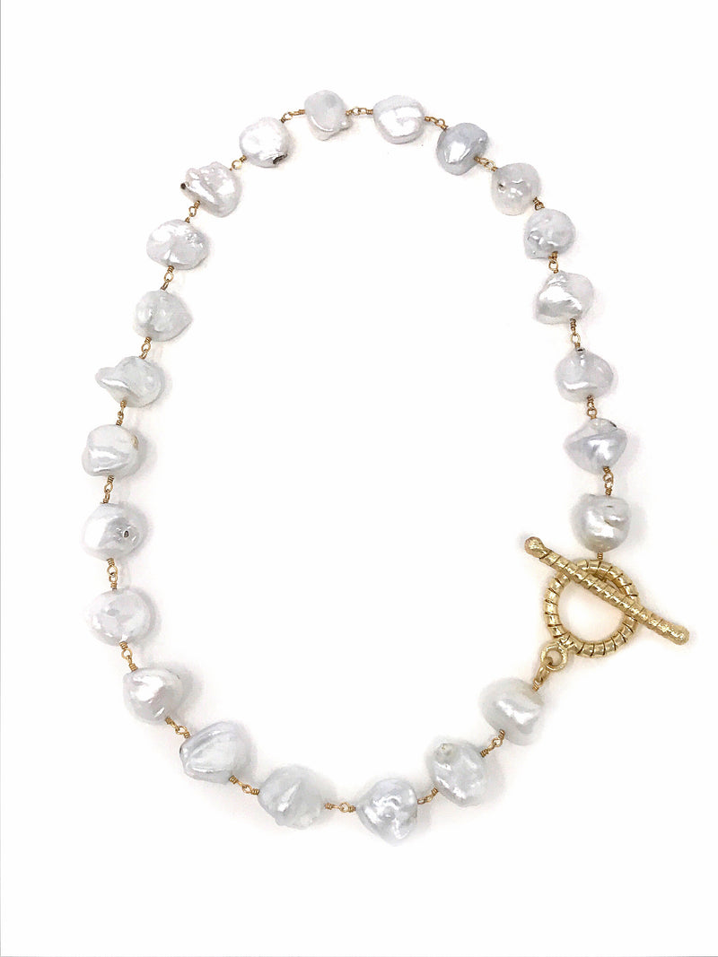 White Large Freshwater Nugget Baroque Pearl Choker or Double Bracelet with Round Textured Toggle
