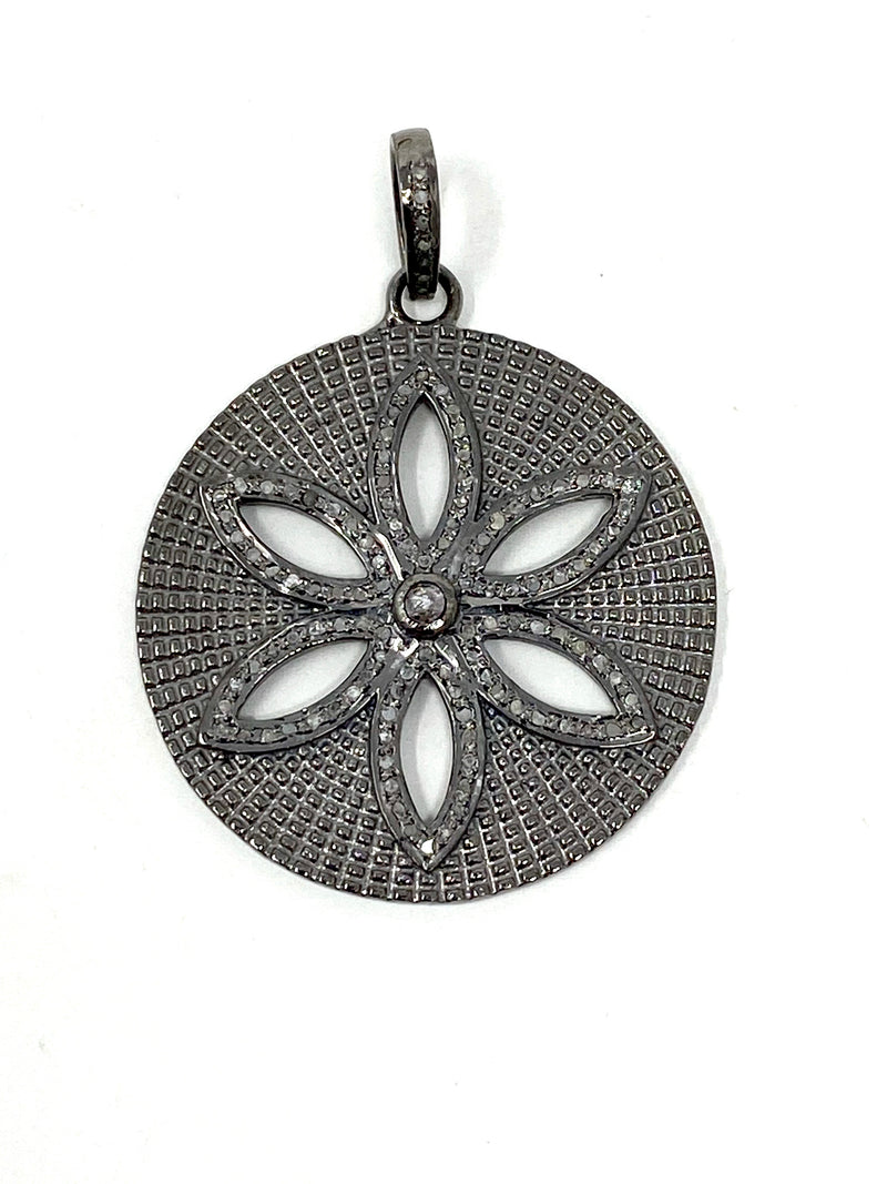 Sterling Silver and Pave Diamond Cutout Flower Pendant