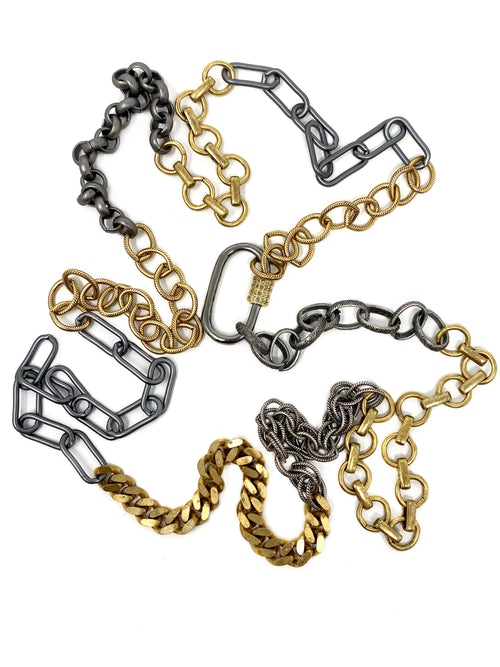 Mixed Metal Chains with Diamond Accent Carabiner Clasp #13