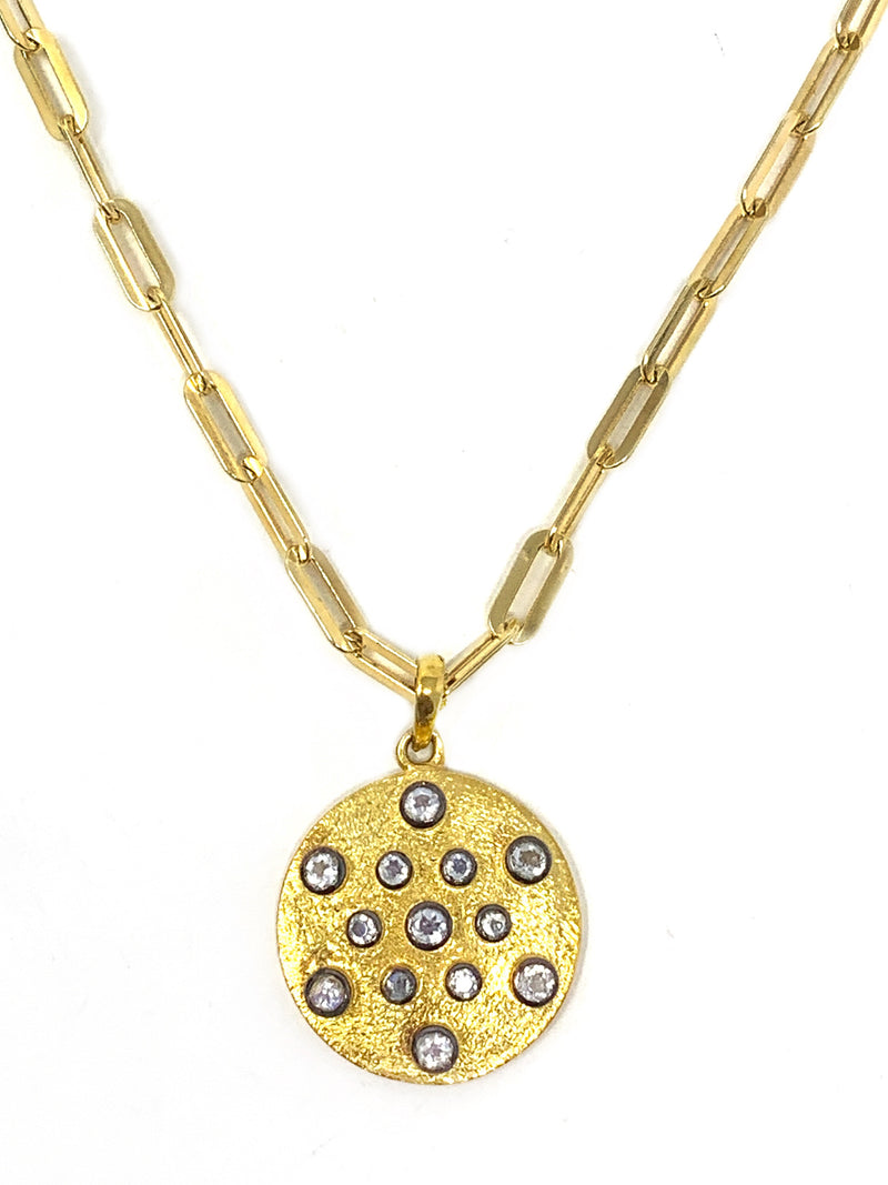 Gold Vermeil Disc with Bezel Set Moonstones on Rectangle Link Chain