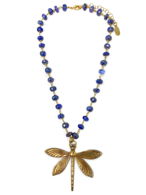 Vintage Brass Dragonfly Pendant on Blue Quartz Chain
