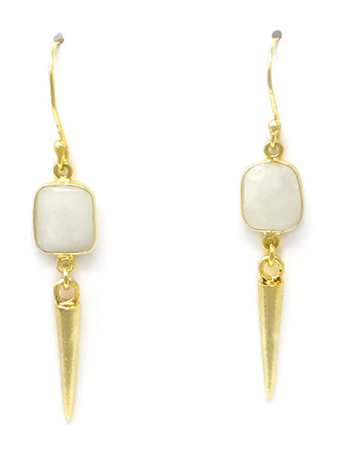 Moonstone Bezel with Small Gold Pointy Drops Earrings