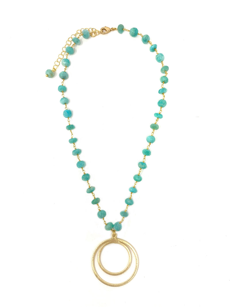 Amazonite and Double Gold Ring Necklace