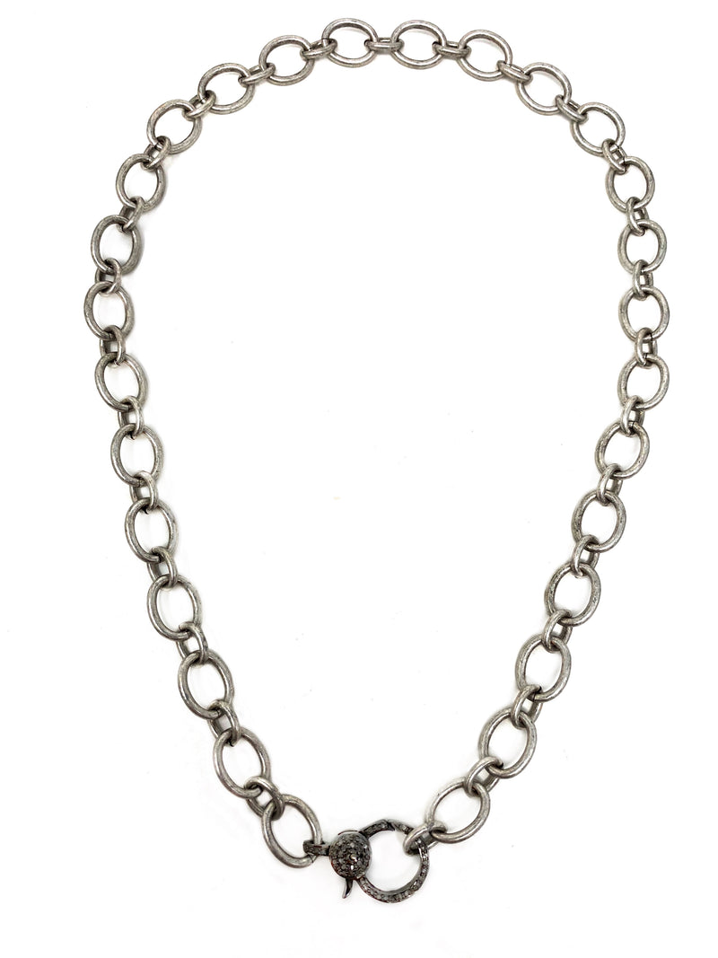Antiqued Silver Large Loop Chain with Diamond Clasp
