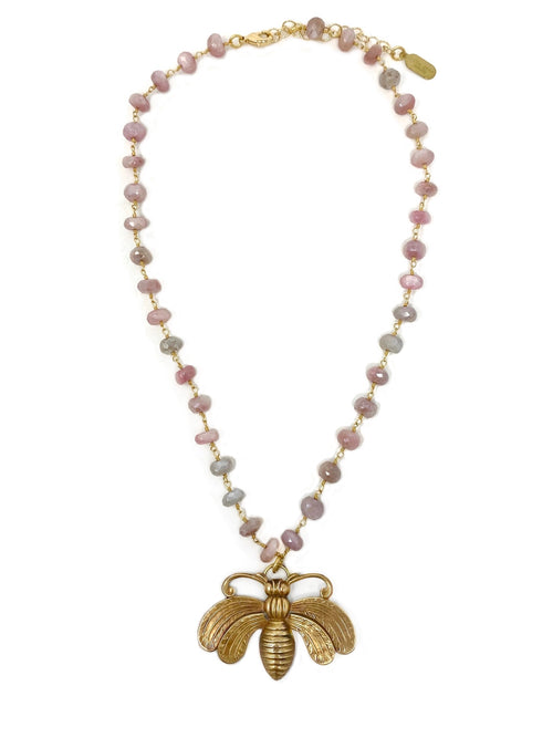 Vintage Brass Bee in Pink Moonstone Chain
