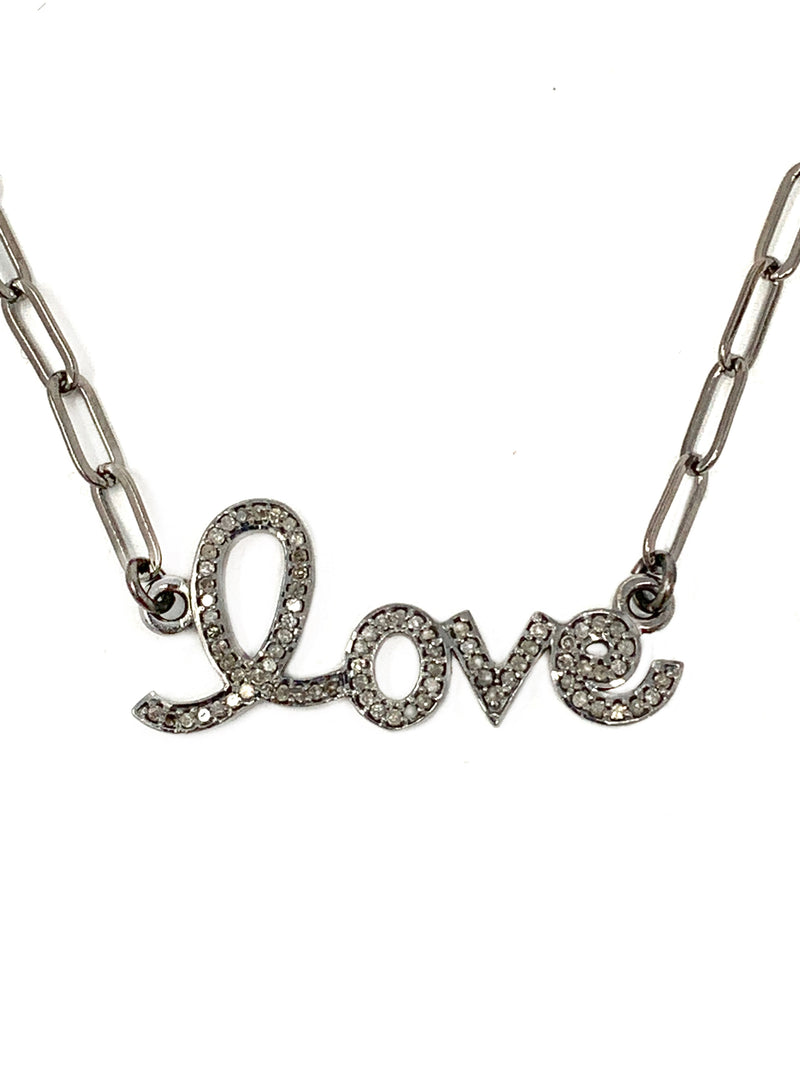 LOVE Pave Diamonds Set in Sterling with Gunmetal Chain