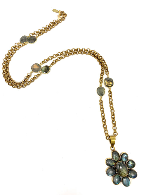 Labradorite Flower Pendant on Labradorite and Brass Rolo Chain - Necklace