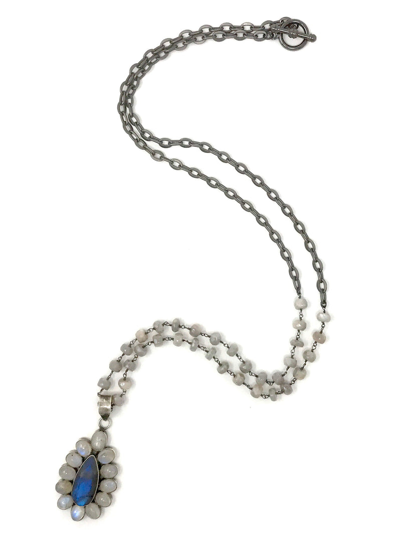 Moonstone and Labradorite Flower Pendant on Gray Moonstone Chain - Necklace