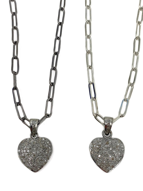 Pave Diamond Puffed Heart on Paper Clip Chain