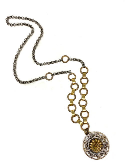 Silver and Brass Vintage Pendant Statement Necklace