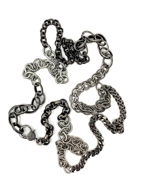 Dark and Light Silver Mixed Chains with Diamond Accent Clasp