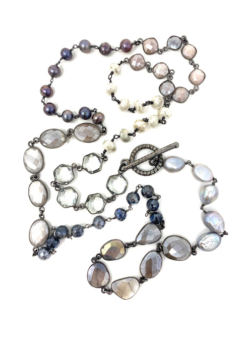 Shades of Gray Gemstones and Pearls Necklace
