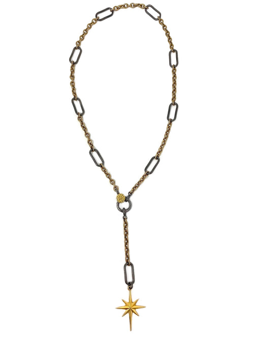 Mixed Metal Chain with Diamond Accent Clasp and Hanging Star Pendant